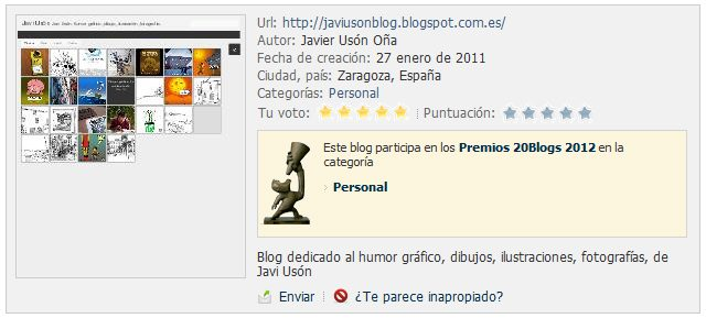 La Blogoteca. Premios 20Blogs