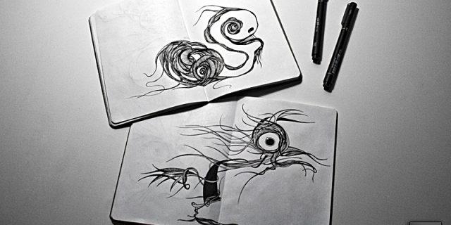 Dibujando en cuadernos. Sketchbook.