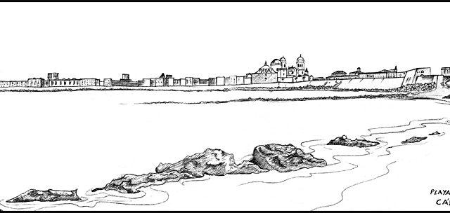 Dibujando en Cádiz II. ¡Qué playas!